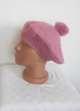 Вязаный берет шапка с помпоном