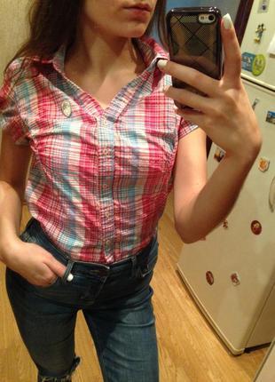 Цветная рубашка в клеточку, рубашка с коротким рукавом,футболка,кофта на пуговицах