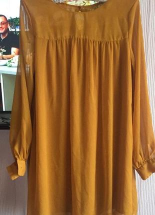 Платье  горчичного цвета шифон