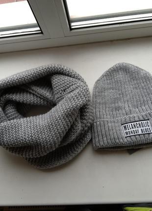 Комплект снуд и шапка, 50% шерсть