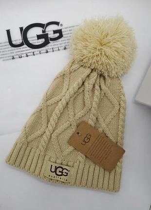 Шапка стильная ugg. зимняя шапка. качество женская шапка шапочка