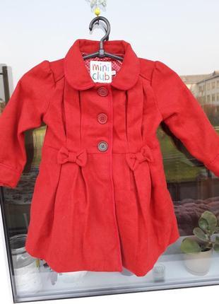 Яркое пальто на девочку 2-3года mini club