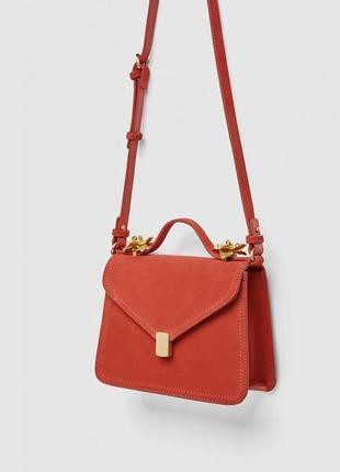 Zara оригинал шикарная замшевая сумочка кроссбоди с декором