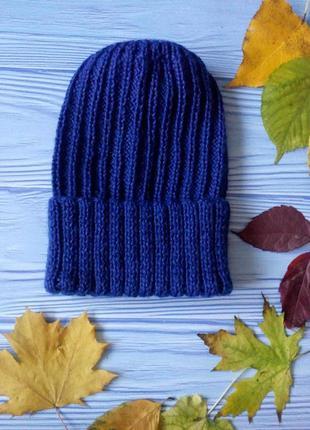 Вязаная шапка с отворотом шерсть+кашемир hand made