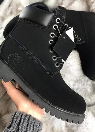 Шикарные зимние ботинки timberland black fur унисекс (мужские/ женские) с мехом
