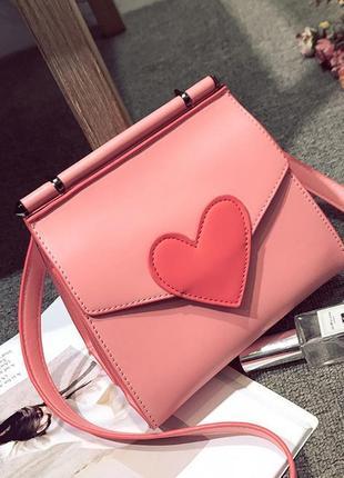 Стильная розовая сумка сердечко