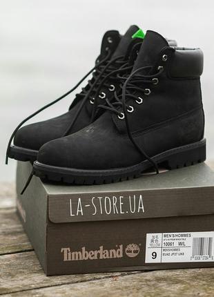 Шикарные зимние ботинки timberland all black унисекс (мужские/ женские) с мехом