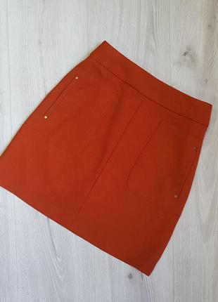 Терракотовая юбка трапецыя h&m 32.xxs,юбка оранжевая юбка