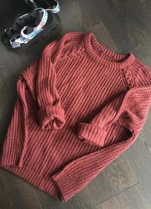 Красивый бордовый свитер oversize/оверсайз atmosphere