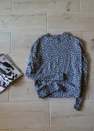 Укороченный свитер в принт птички свободного кроя р. l xl 12 14