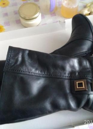 Сапоги женские кожаные, черного цвета, 36 размер
