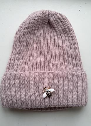 Стильная женская шапочка 50% шерсть, 50% акрил, one size
