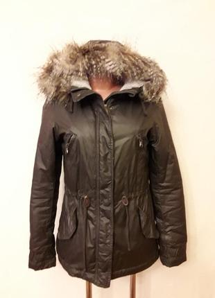 Демисезонная куртка парка фирмы l.o.g.g. by h&m p. 34 ( xs)