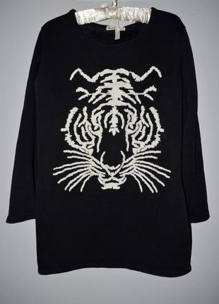 М - l очень теплая фирменная женская туника платье с тигром на флисе3 фото