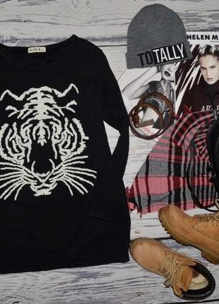 М - l очень теплая фирменная женская туника платье с тигром на флисе