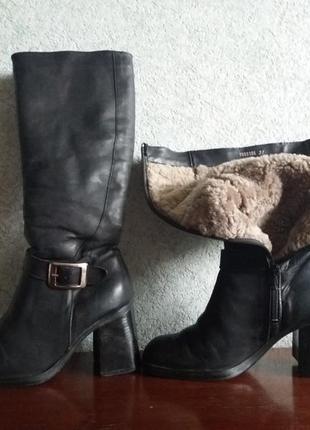 Зимние теплые кожаные итальянские сапоги, размер 37