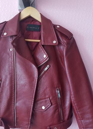 Кожаная куртка косуха эко кожа марсала