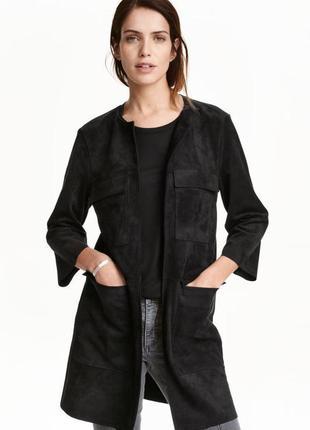Пальто кардиган с накладными карманами под замшу