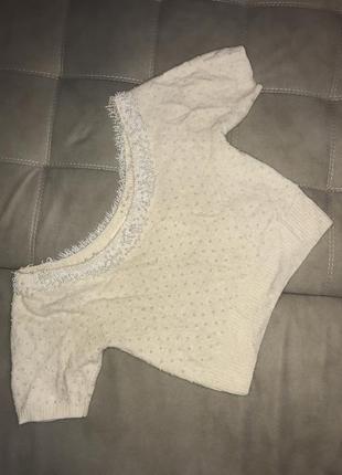Молочный ангоровый свитер,свитер с жемчугом ,