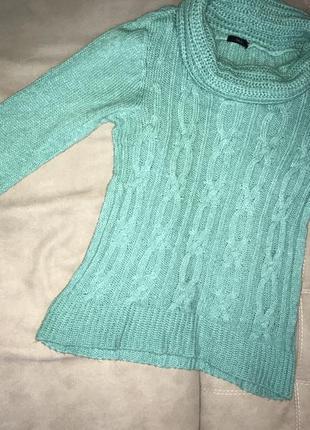 Бирюзовый свитер с горлом,вязанный свитер