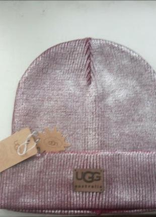 Брендовая шапка ugg c напылением
