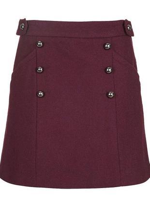 Шерстяная мини юбка topshop