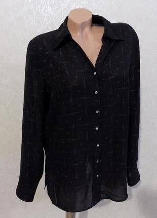 Блузка рубашка на пуговицах шифоновая marks&spenser размер 50