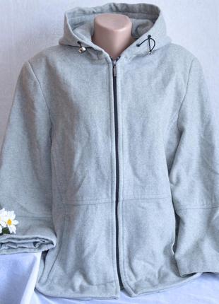 Брендовое серое шерстяное демисезонное пальто полупальто с капюшоном klass collection