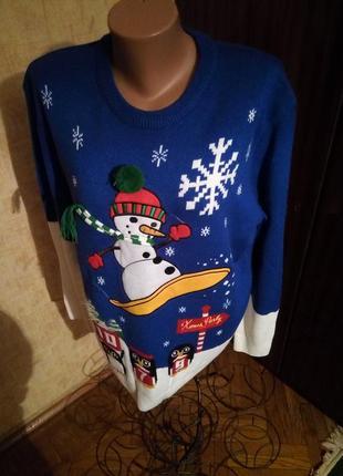 Нарядный  прикольный свитер   со снеговиком next 54-56