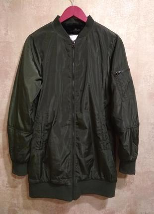 Бомбер удлиненный осенняя куртка pull&bear