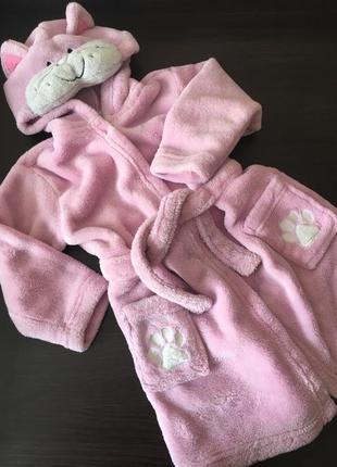 Обалденный уютный халат для девочки кошечка на 12-18 мес