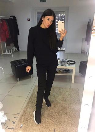Теплый зимний женский спортивный костюм трехнитка на флисе с начесом черный