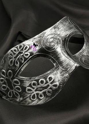 """Серебристая стильная маскарадная карнавальная маска """"железная леди""""5217 с эффектом металла"""