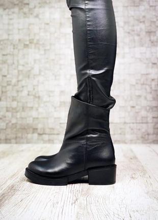 Рр 36-41 натуральная кожа гладкая осень(зима) черные ботинки