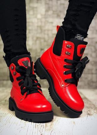 Рр 36-40 зима натуральная кожа люксовые стильные красные ботинки на шнуровке