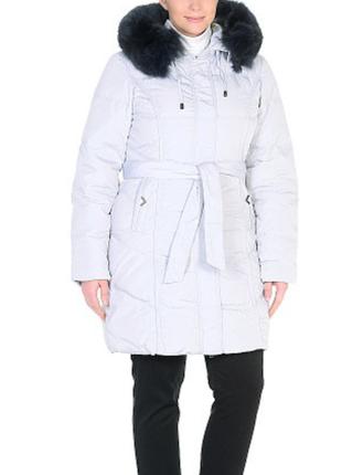 Пуховое пальто с натуральным мехом finery geo