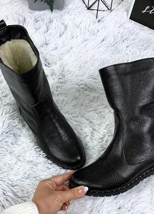 36-41 рр  деми / зима ботинки, сапоги, ботильоны черные натуральный замш, кожа