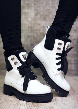 Рр 36-39 зима натуральная кожа люксовые стильные белые ботинки на шнуровке