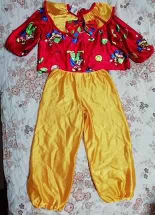 Карнавальный новогодний костюм клоуна шута на 5-6лет