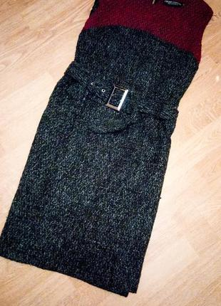 S-m платье сарафан бордо чёрное с поясом классическое базовое