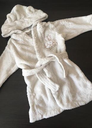 Классный махровый халат с ушками и мишкой