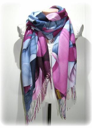 ⚘роскошный кашемировый шарф шаль фуксия небесный