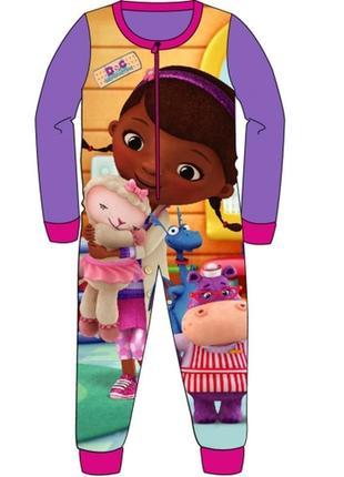 Пижама флисовая сдельная доктор плюшева, теплый слип для девочки 2-6 лет