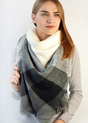 Теплый шарф плед платок в клетку черно белый осень-зима