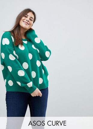 Оверсайз свитер в крупный горох большого размера asos uk24/eu52/5-6xl