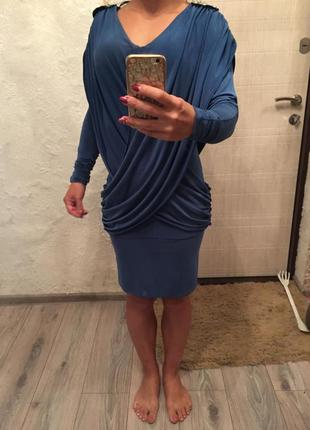Голубое платье, платье на запах
