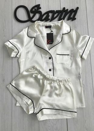 Женская атласная пижама для сна и дома( шампань)