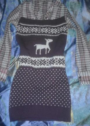 Теплое стильное зимнее платье