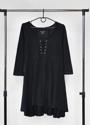 Трендовая кофта туника со шнуровкой чёрного цвета от koppahl