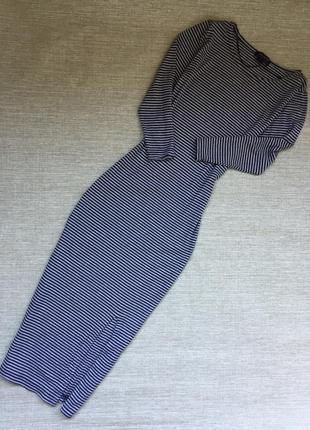 Актуальное полосатое миди платье в рубчик